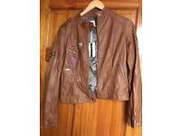 Brown Leather Jacket New With Tags Size L