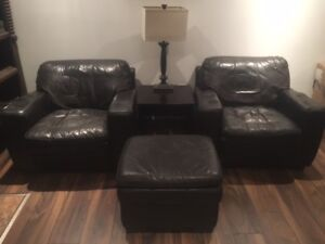 leather chairs and matching ottoman