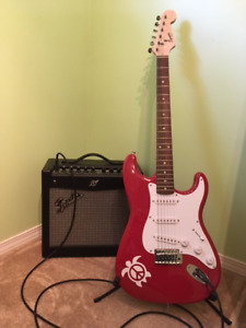 Electric guitar, amp, stand & hard case