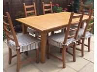 OAK DINING TABLE EXTENDING & 6 PINE CHAIRS