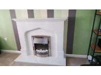 White Marble Effect Fire Surround & Electric Fan Heater