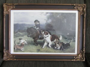 Antique Frame with Print of Girl on a horse & dogs.