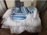 Single duvet, duvet cover, pillowcase, underblanket and fitted sheet