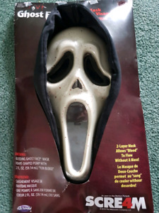Scream mask with fake blood that runs thru the mask