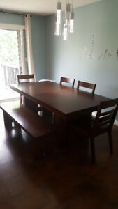 Large table +  4 chairs/Bench