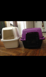 Cat cage purple and black brand new and  cat litter box
