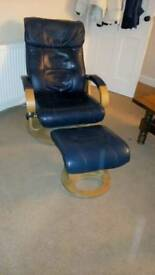 Leather recliner and footstool reduced from £40