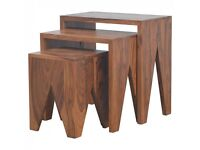 Solid Sheesham Wood Set of Three Cut Out Nesting Table - Brand New