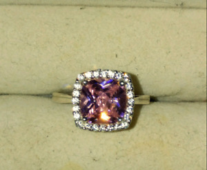 Sz 8.5 pink sapphire sterling silver ring