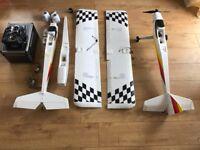Remote cControlled plane and remote, Ripmax Wot 4 Foam E, Graupner MZ24