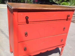 Hand Painted Wood Red Dresser