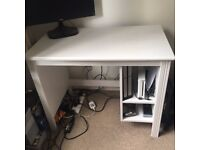 White wooden desk IKEA