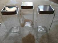 3 x square glass storage jars, kitchen.