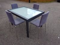 Frosted Glass & Metal Frame Extending Table & 4 Chairs FREE DELIVERY 832