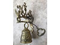 Antique Church Sanctuary Bell in heavy brass with Angel