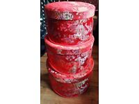 BARGAIN Set of 3 large to small hat or storage oriental red silk boxes £20 bargain