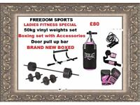 50kg weights set, Womens boxing set with ACCESSORIES upper body door bar BRAND NEW BOXED