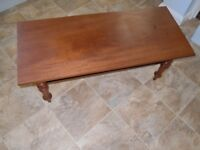 """BASIC, WOOD. LOW TABLE/COFFEE TABLE (WITH SHELF) L: 39"""" (99 CM) H & D: 17"""" (43 CM)"""