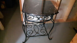 Rod Iron End Table Marble Top