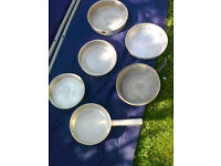 Camping cooking pan set 6 pieces plus handle folds into one pan