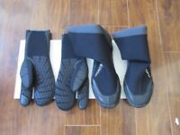 Wet-suit gloves and boots.