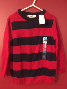 Children's Place Boy's Red/Navy Striped Sweater - Size 4T - NEW