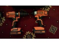 Black & Decker power drill, Impact drive + Ratchet set, impact wrench.