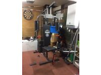 York multigym and weight bench bar and lots of weights