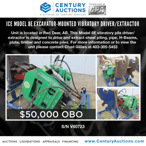 For Sale - Ice Model 8E Excavator-Mounted Vibratory Driver/Extra
