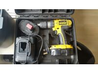 DeWalt Li-Ion DC725 18v Battery Drill with charger, two batteries & case