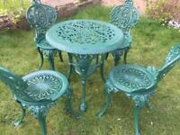 Cast iron table & chairs