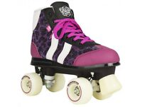 NEW ROOKIE RETRO GIRLS KIDS ADULTS RED PURPLE QUAD WHEELS ROLLER SKATES SIZE 2