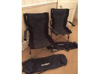 2 Grey/black Brunner Camping Chairs