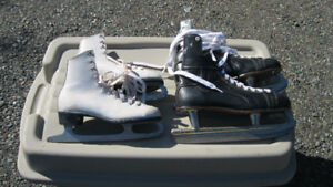 Hockey and figure skates old style.