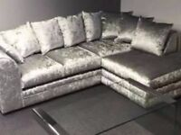 **Bargain Price** Crushed velvet corner sofa or 3+2 seater or Matching swivel chair