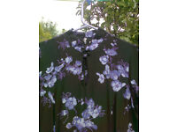 Smart day/ evening dress - lilac flower on navy background unusual neckline - see pics