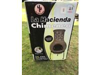 NEW: chimenea, height 70cm with stand, Dia 32cm.
