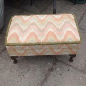 Vintage storage footrest ottoman bedroom lounge upholstery project