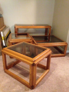 4 Solid Oak Tables; Coffee table, 2 end tables, 1 long table