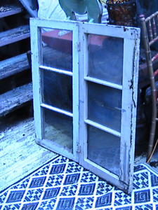 "2 antique solid wood & glass ""Oxford "" style 3panel Windows"