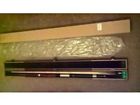 3/4 SNOOKER CUE, CASE, MINI BUTT AND TELESCOPIC EXTENDER