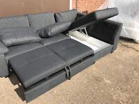 Unused Fabric Right Corner Sofa Bed - Charcoal