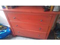 Red IKEA Hemnes Chest of drawers