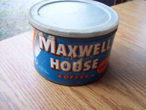 1-BOITE EN METAL,MAXWELL HOUSE COFFEE REGULAR 1LB,ANTIQUE.