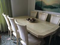 Stunning Italian cream dining room suite with matching sideboard & chairs
