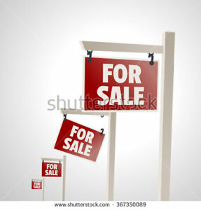 4 white real estate FOR SALE signs $100 each or best offer