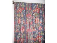 Pair of full length, double width lined curtains