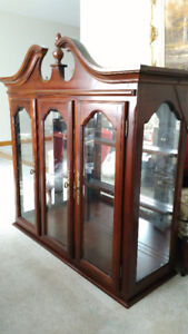 Beautiful Large Solid Wood Display Case - 3 shelf - Lighted