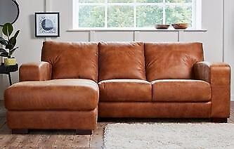 Brown Leather L Shaped Sofa Right Hand Free Delivery