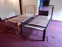 Single beds metal frames with slats 1 year old